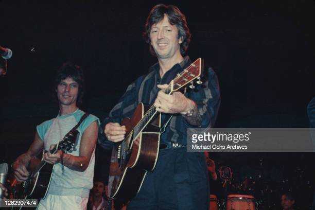 From left to right, musicians Jeff Beck and Eric Clapton perform at an ARMS Charity Concert in aid of Action into Research for Multiple Sclerosis,...