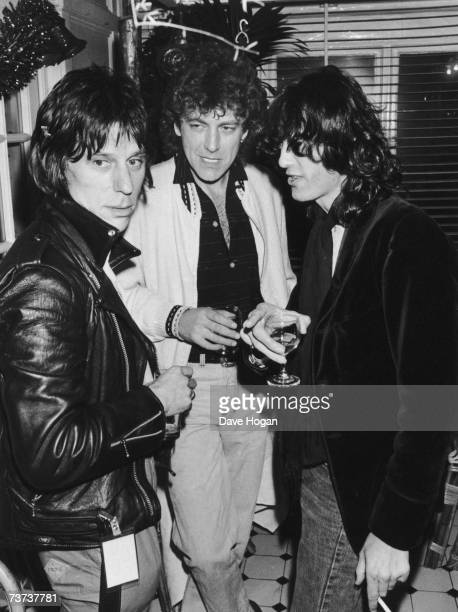 From left to right musicians Jeff Beck Robert Plant and Jimmy Page 1983