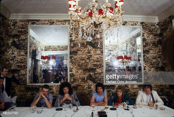From left to right musicians John Deacon Brian May Freddie Mercury Roger Taylor and producer Roy Thomas Baker of British rock band Queen during a...
