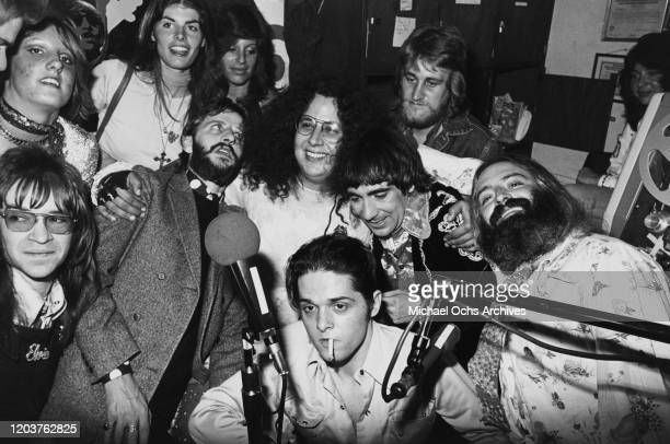 From left to right musicians Rodney Bingenheimer Ringo Starr Mark Volman Keith Moon and Howard Kaylan during the 'Flo Eddie' radio show in Pasadena...