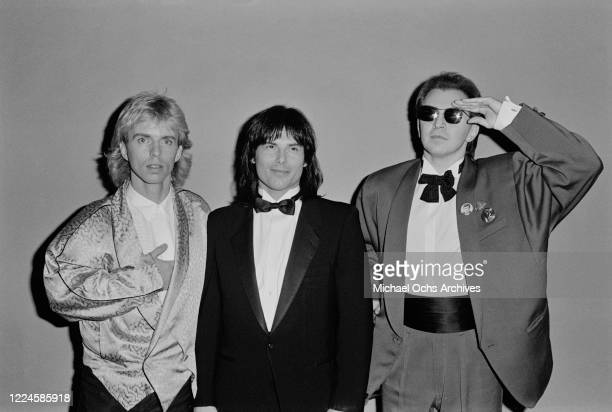 From left to right musicians Tommy Shaw Jimi Jamison and Gerald 'Jerry' Casale at the Third Annual American Video Awards in Santa Monica California...