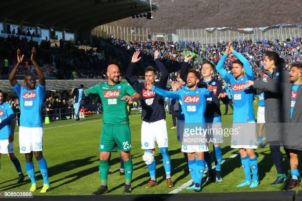 ITALIA STADIUM BERGAMO LOMBARDIA ITALY From left to right Napoli's French defender Kalidou Koulibaly Napoli's Spanish goalkeeper Pepe Reina Napoli's...