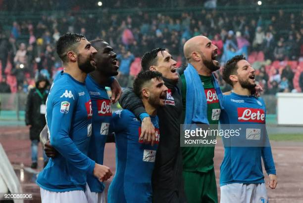 STADIUM NAPLES CAMPANIA ITALY From left to right Napoli's Spanish defender Raul AlbiolNapoli's French defender Kalidou Koulibaly Napoli's Italian...