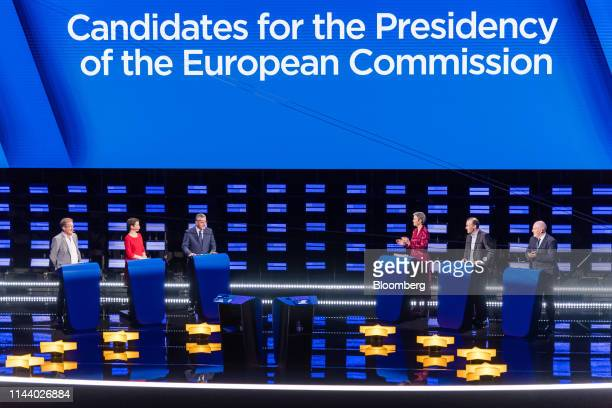 From left to right Nico Cue lead candidate Party of the European Left Ska Keller colead candidate of the European Green Party Jan Zahradil lead...