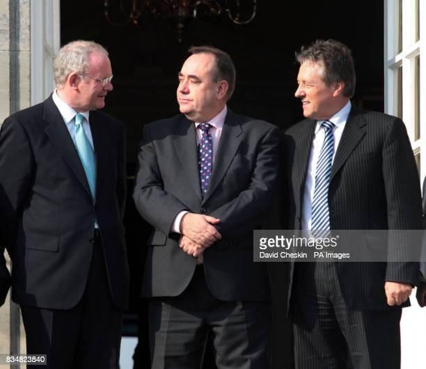 Northern Ireland's Deputy First Minister Martin McGuinness meets Scottish First Minister Alex Salmond and Northern Ireland's First Minister Peter...
