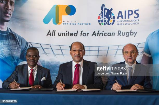 From left to right Obi Mitchell; president of AIPS Africa , Nicolas Pompigne-Mognard; Founder & CEO of APO group and Gianni Merlo; President of AIPS...