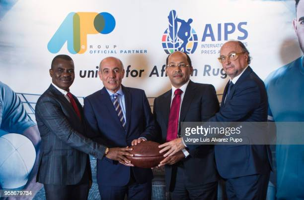 From left to right Obi Mitchell president of AIPS Africa Nicolas PompigneMognard Founder CEO of APO group Abdelaziz Bougja Chairman of World Rugby's...