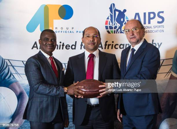 From left to right Obi Mitchell; president of AIPS Africa, Nicolas Pompigne-Mognard; Founder & CEO of APO group and Gianni Merlo; President of AIPS...