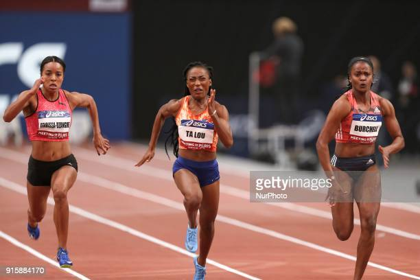 Orlan OmbissaDzangue of France MarieJosee Ta Lou of Ivory Coast Remona Burchell of Jamaica compete in 60m during the Athletics Indoor Meeting of...