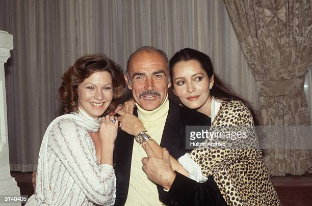 From left to right Pamela Salem who appears as Miss Moneypenny in 'Never Say Never Again' Sean Connery who plays James Bond and Barbara Carrera who...