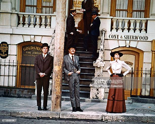 From left to right, Paul Newman as Butch Cassidy, Robert Redford as The Sundance Kid, and Katharine Ross as Etta Place in the film 'Butch Cassidy and...