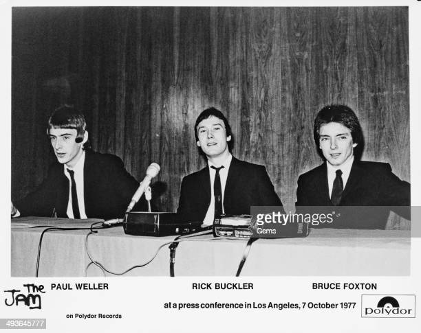 From left to right Paul Weller Rick Buckler and Bruce Foxton of The Jam at a press conference in Los Angeles 7th October 1977