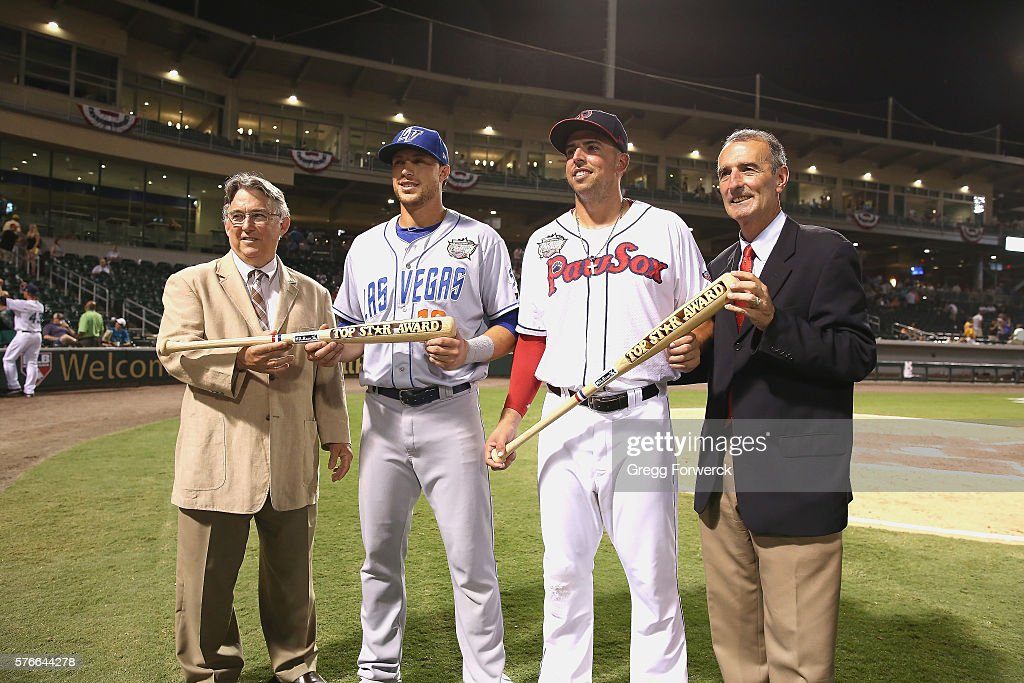 From left to right PCL commisioner Branch Rickey is photographed with Travis Taijeron #18 while Chris Marrero #21 is photographed with International League commisioner Randy Mobley following the Sonic Automotive Triple-A Baseball All Star Game at BB&T Ballpark on July 13, 2016 in Charlotte, North Carolina.