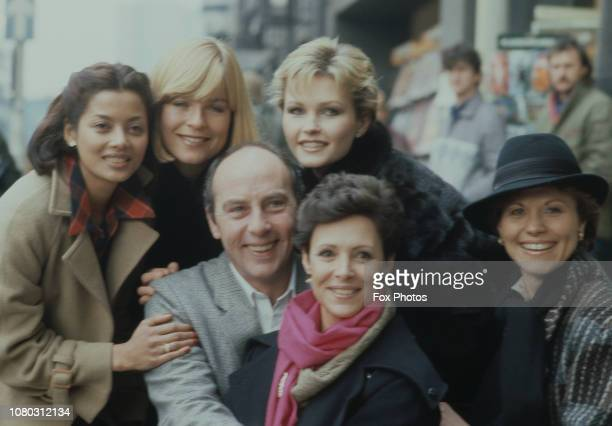 From left to right performers Emily Bolton Sally Geeson Anthony Valentine Fiona Fullerton Lorna Dallas and Diane Keen during rehearsals for a charity...