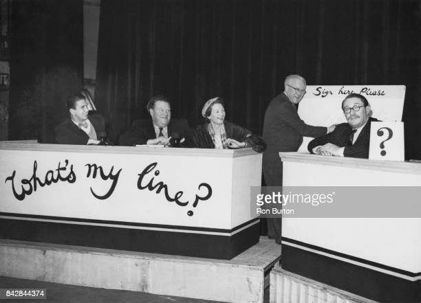 From left to right Peter Casson Bryan Michie Elizabeth Allan and Gilbert Harding during rehearsals for the television show 'What's My Line' London...