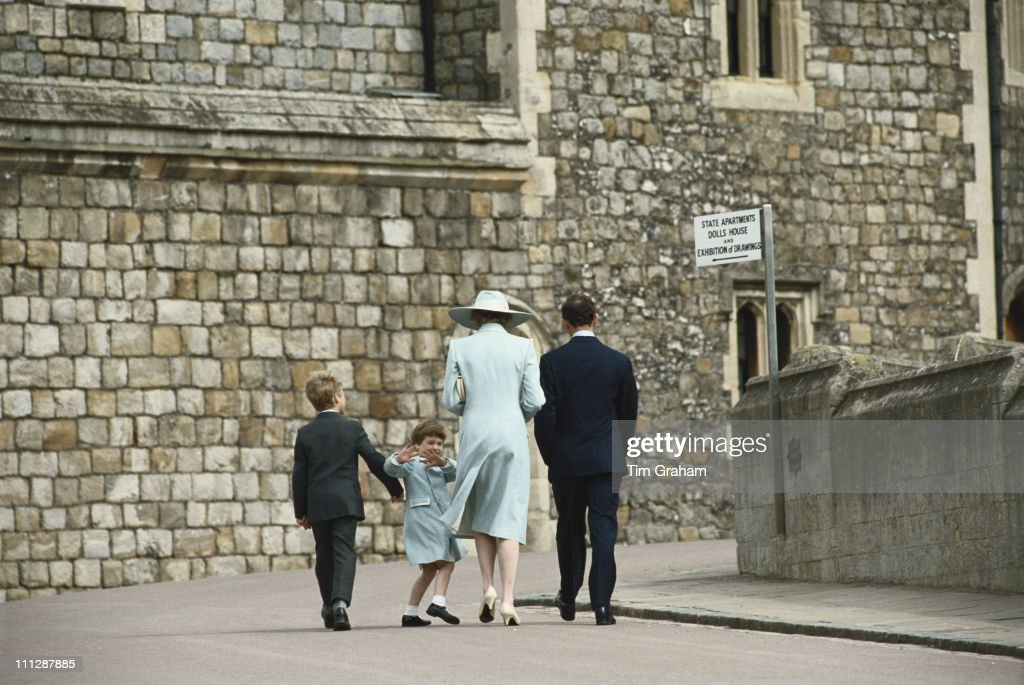 From left to right, Peter Phillips, Prince William, Diana, Princess of Wales (1961 - 1997) and Prince Charles attend the Easter service at Windsor, 19th April 1987.