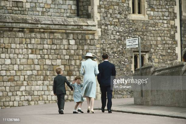 From left to right Peter Phillips Prince William Diana Princess of Wales and Prince Charles attend the Easter service at Windsor 19th April 1987