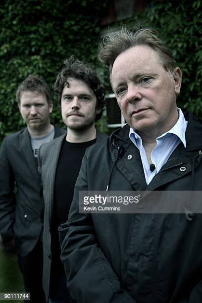 From left to right, Phil Cunningham, Jake Evans and Bernard Sumner at Mottram Hall, Cheshire, to promote their new band, Bad Lieutenant, 21st July...