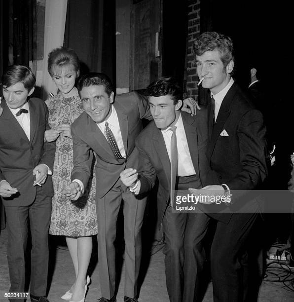 From left to right Pierre Vassiliu Catherine Rouvel Gilbert Becaud Alain Barriere Eddy Mitchell Paris 1963