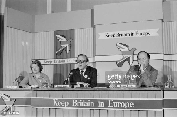 From left to right politicians Rita Stephen Lord Carrington and Reg Prentice speak at a proCommon Market press conference at the Waldorf Hotel in...