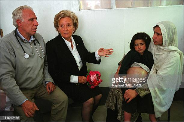 From left to right Pr Deloche Bernadette Chirac Dr Nilab Mobarez and a child who will be sent to the Pompidou Center in Paris Another child will...