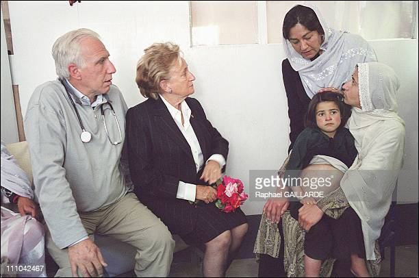 From left to right Pr Deloche Bernadette Chirac Dr Nilab Mobarez and a child who will be sent to the Pompidou Hospital in Paris Another child will...