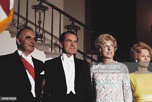 From left to right President of France Georges Pompidou President of the United States Richard Nixon Claude Pompidou and Pat Nixon pictured together...
