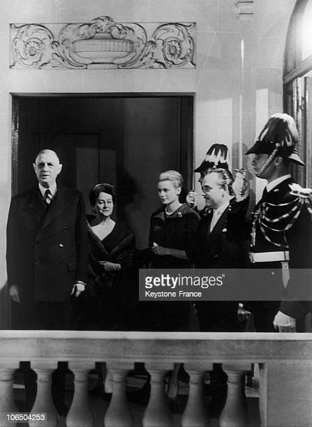 From Left To Right President Of The French Republic Charles De Gaulle His Wife Yvonne Princess Grace And Prince Rainier In Monaco On October 14Th 1959