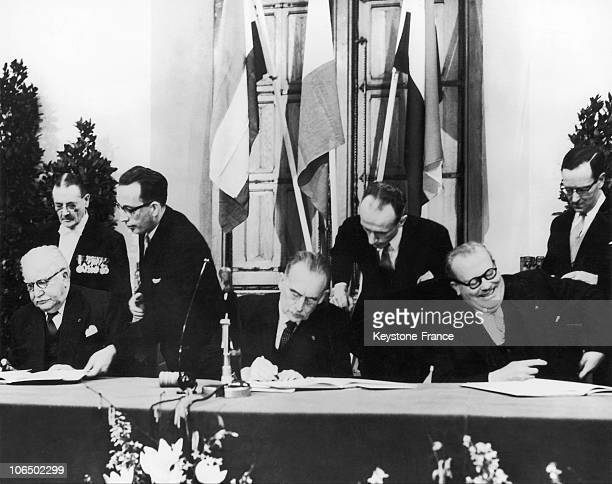From Left To Right Prime Ministers Of Luxembourg Joseph Bech Dutch Drees And Belgian Achille Van Acker During The Signing Of Benelux Economic...