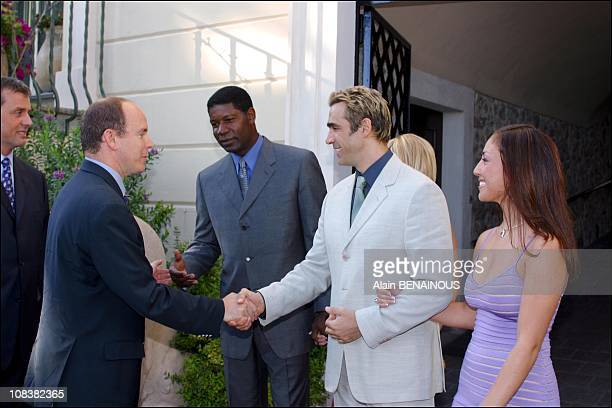From left to right Prince Albert and Adrian Paul in Monaco on July 06 2002