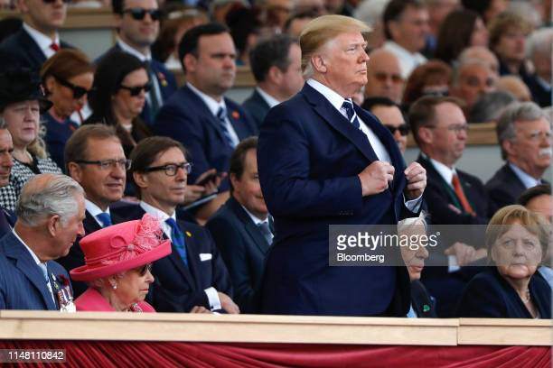 From left to right Prince Charles Prince of Wales Britain's Queen Elizabeth II US President Donald Trump Prokopis Pavlopoulos Greece's president and...
