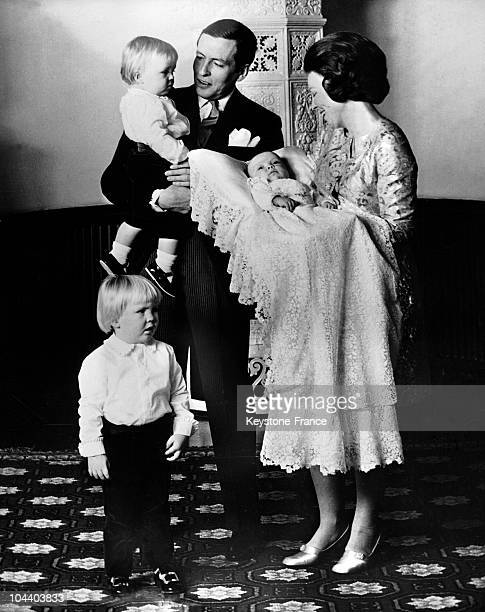 From left to right Prince WILLEMALEXANDER Prince CLAUS holding Prince JOHAN FRISO in her arms and Princess BEATRIX of Holland with Prince CONSTANTIJN...
