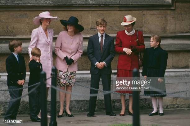 From left to right, Prince William, Prince Harry, Diana, Princess of Wales , the Duchess of York, Peter Phillips, Princess Anne and Zara Phillips at...