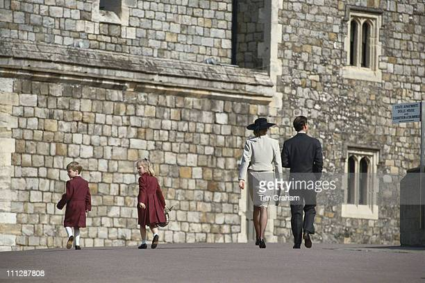 From left to right Prince William Zara Phillips Diana Princess of Wales and Prince Charles attend the Easter service at Windsor 3rd April 1988