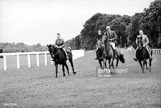 From left to right Princess Margaret her husband Antony ArmstrongJones the Marquess of Douro and the Marquess of Cholmondeley riding on the race...