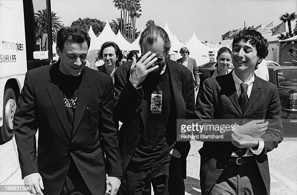 From left to right producer Cary Woods director Larry Clark and writer actor and director Harmony Korine on their way to promote their film 'Kids' at...
