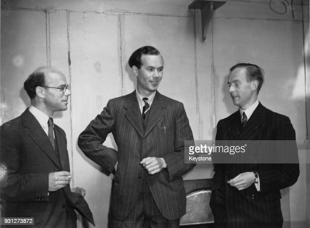 From left to right Professor James Sayers Professor Henry Albert Howard Boot aka Harry Boot and Professor John Randall arrive at Somerset House in...