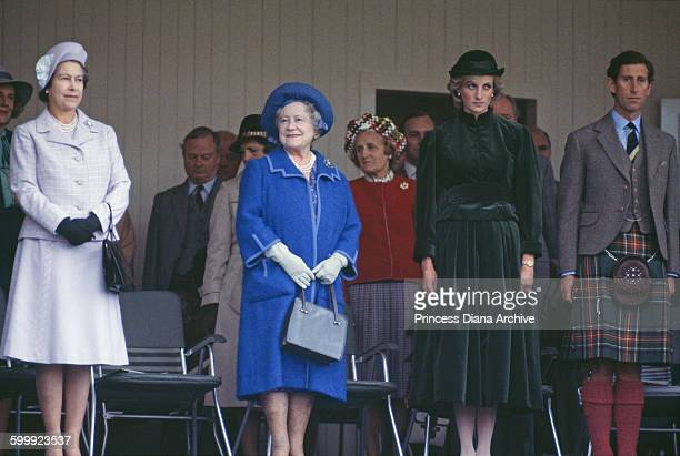 From left to right, Queen Elizabeth II, the Queen Mother , Diana, Princess of Wales and Prince Charles at the Braemar Highland Games Gathering in...