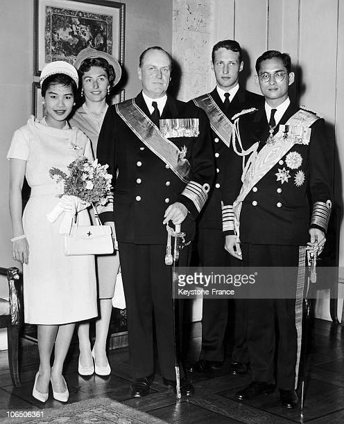 From Left To Right Queen Sirikit Of Thailand Princess Astrid King Olav V Crown Prince Harald And King Bhumibol