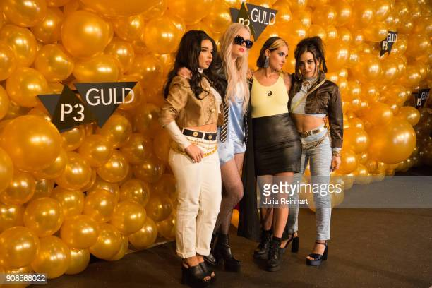 From left to right Rebecca Scheja Little Jinder Emelie Roslund and Fiona FitzPatrick arrive at the P3 Guld Gala Swedish Radio's celebration of the...