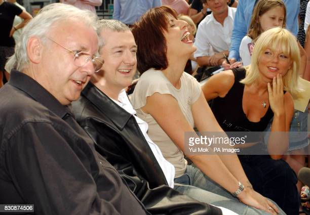 From left to right record producer Pete Waterman pop svengali Louis Walsh TV presenter Davina McCall and singer Geri Halliwell during a photocall at...