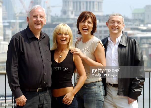 From left to right record producer Pete Waterman singer Geri Halliwell TV presenter Davina McCall and pop svengali Louis Walsh during a photocall at...