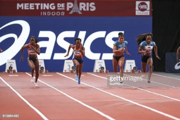 Remona Burchell of Jamaica MarieJosée TaLou of Ivory Coast Mujinga Kambudji of Switzerland Carolle Zahi of France compete in 60m during the Athletics...