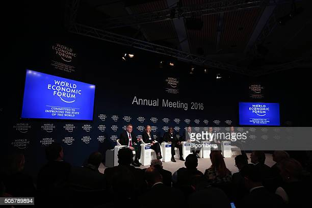 From left to right Richard 'Rich' Lesser chief executive officer of Boston Consulting Group Inc Meg Whitman president and chief executive officer of...