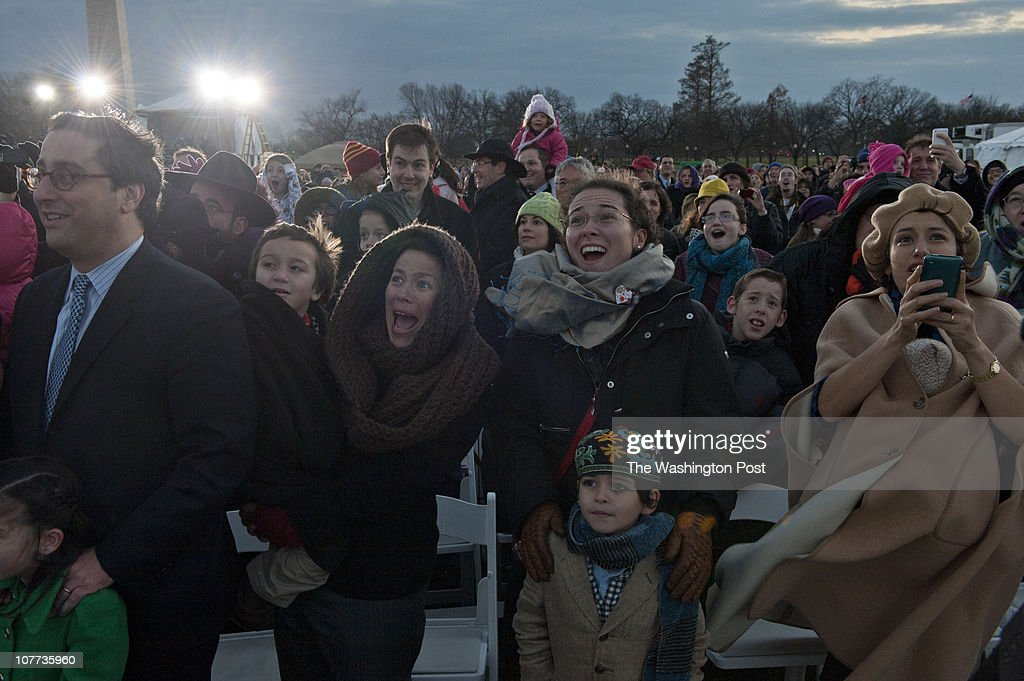 The lighting of the National Chanukah Menorah on the Ellipse on the first night of Chanukah. : News Photo