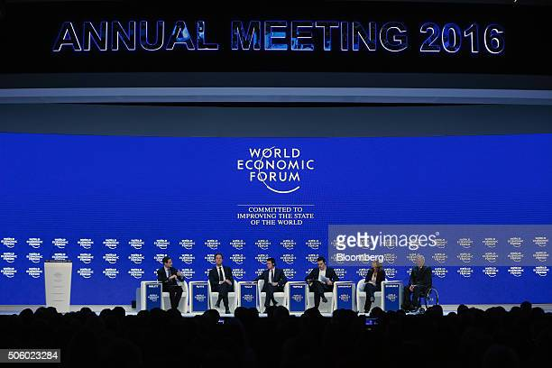 From left to right Robin Niblett director of Chatham House Enterprises Ltd Mark Rutte Dutch prime minister Manuel Valls France's prime minister...
