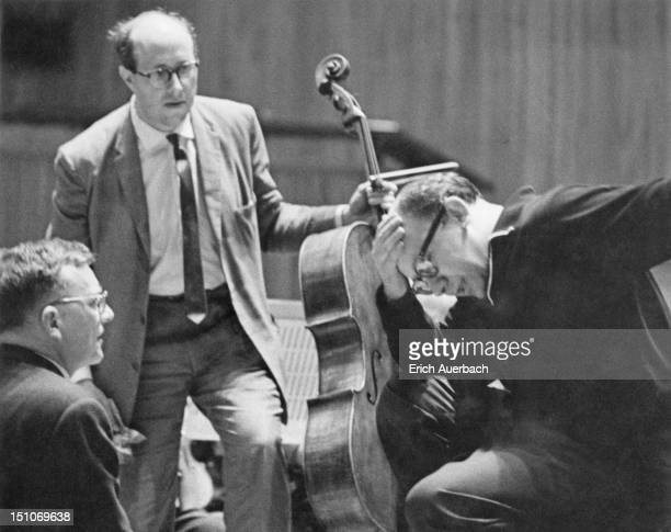 From left to right Russian composer Dmitri Shostakovich cellist Mstislav Rostropovich and conductor Gennady Rozhdestvensky during the London premiere...