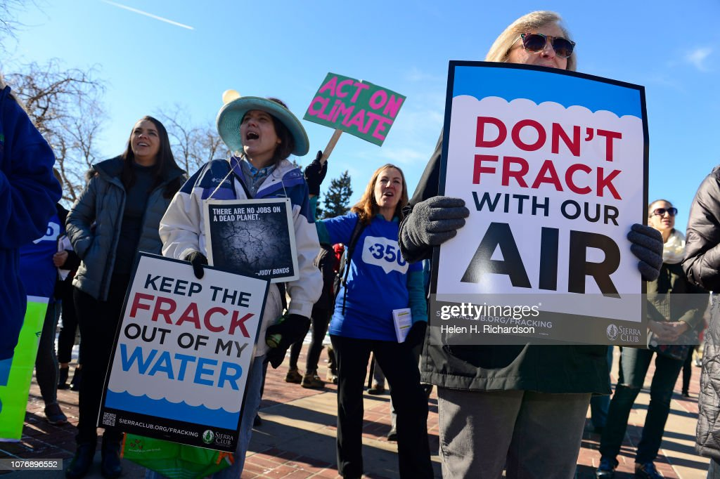Activist group rallies for 9 month moritorium on oil and gas permits in Colorado. : News Photo