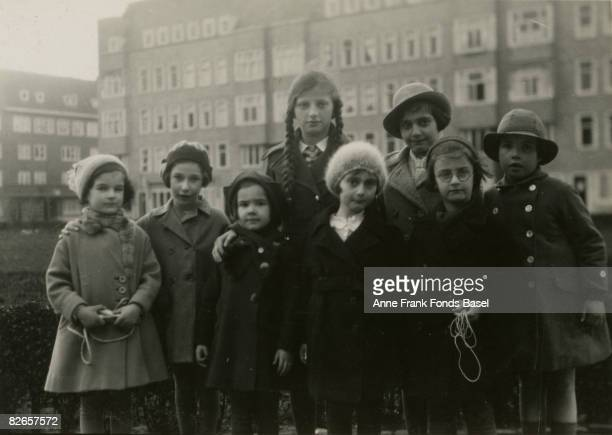 From left to right Sanne Ledermann Hanneli Goslar unknown unknown Anne Frank Margot Frank unknown unknown Merwedeplein Amsterdam circa 1935