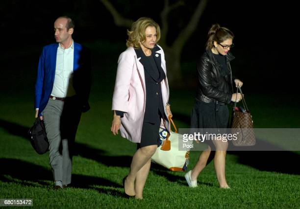 From left to right Senior Advisor Stephen Miller Deputy National Security Advisor K T McFarland and White House Director of Strategic Communications...